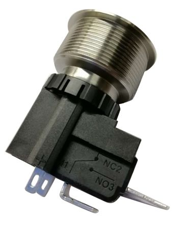 RS PRO Single Pole Single Throw (SPST) Momentary White LED Push Button Switch, IP67, 25.2 (Dia.)mm, Panel Mount, 250 / (20)