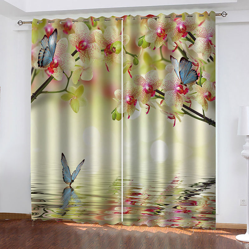 3D Floral and Butterflies Blackout Window Curtains for Living Room Bedroom No Pilling No Fading No off-lining Blocks Out 80% of Light and 90% of UV Ra