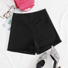 Shorts mit Reissverschluss hinten und ungesaeumtem Saum