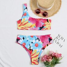 Floral One Shoulder High Waisted Bikini Swimsuit