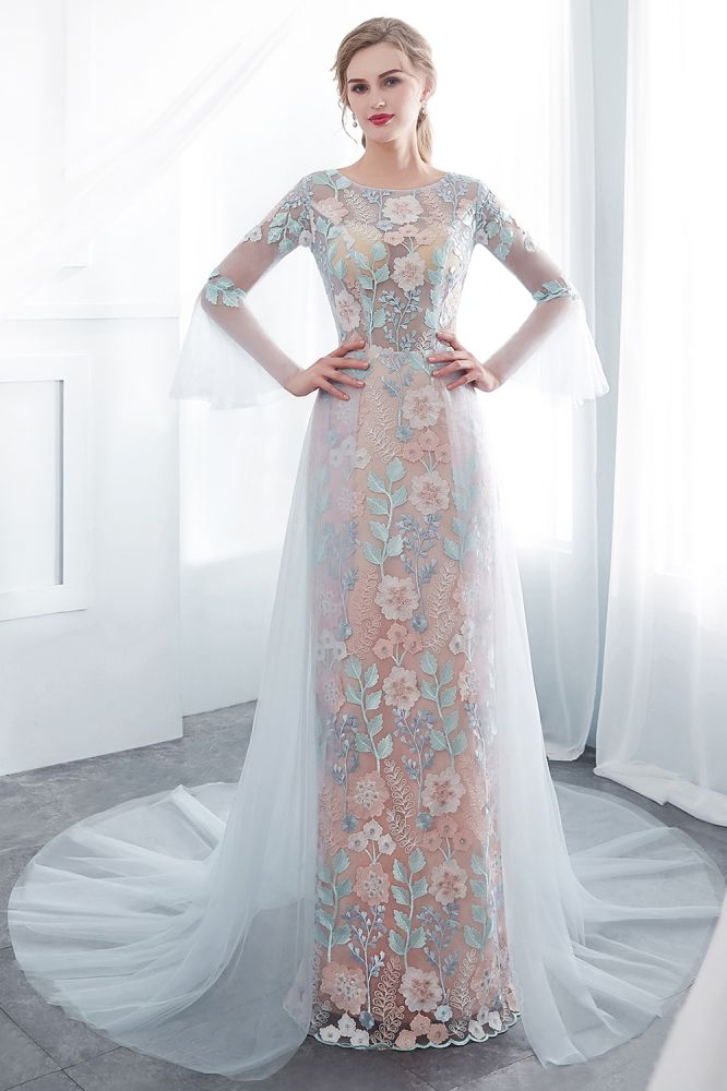 NAOMI | Sheath Long Sleeves Sheer Neckline Appliqued Flowers Evening Dresses