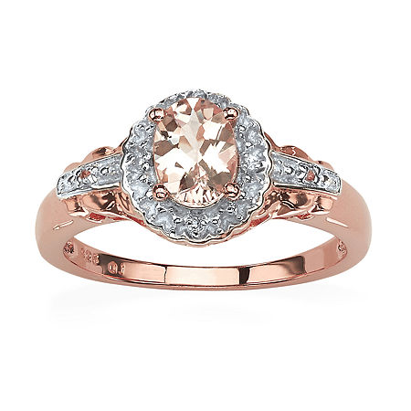Womens Genuine Pink Morganite Sterling Silver Cocktail Ring, 7 , No Color Family