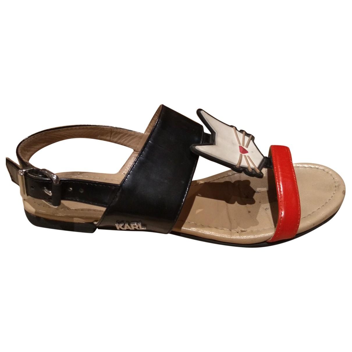Karl Lagerfeld \N Black Leather Sandals for Women 36 EU