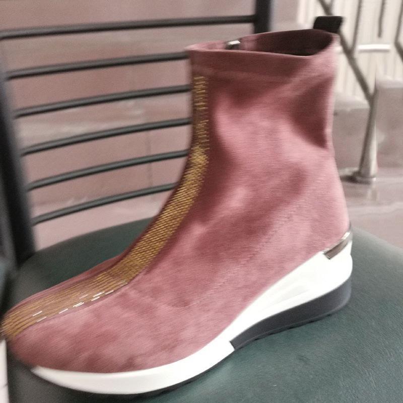 Ericdress High-Cut Upper Rhinestone Zipper Suede Sneakers