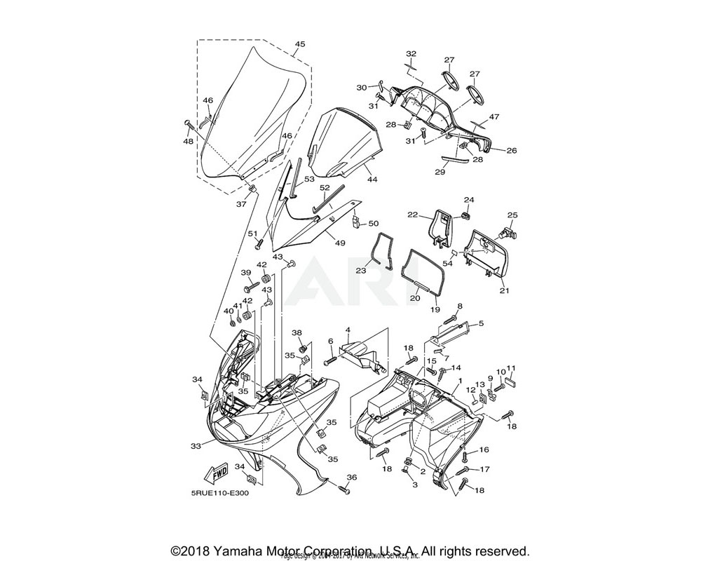 Yamaha OEM 5RU-28351-00-PD BODY, COWLING | UR FOR VRC1