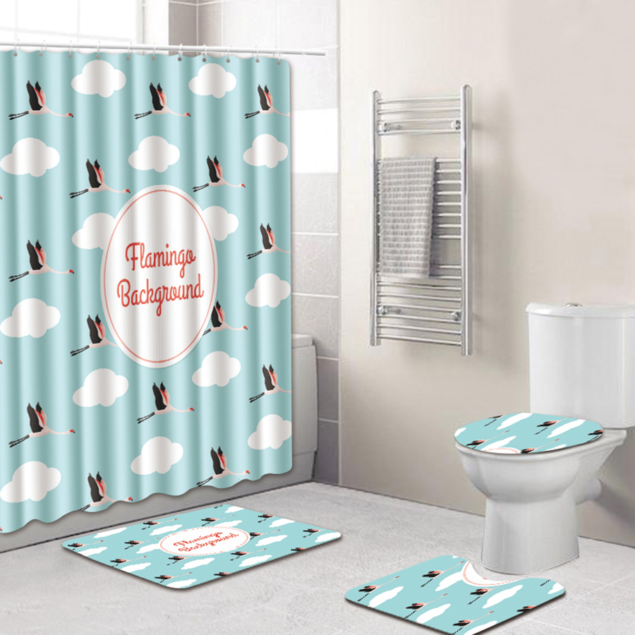 PVC Material Four-Piece Set Animal Pattern Eco-Friendly Feature Shower Curtains