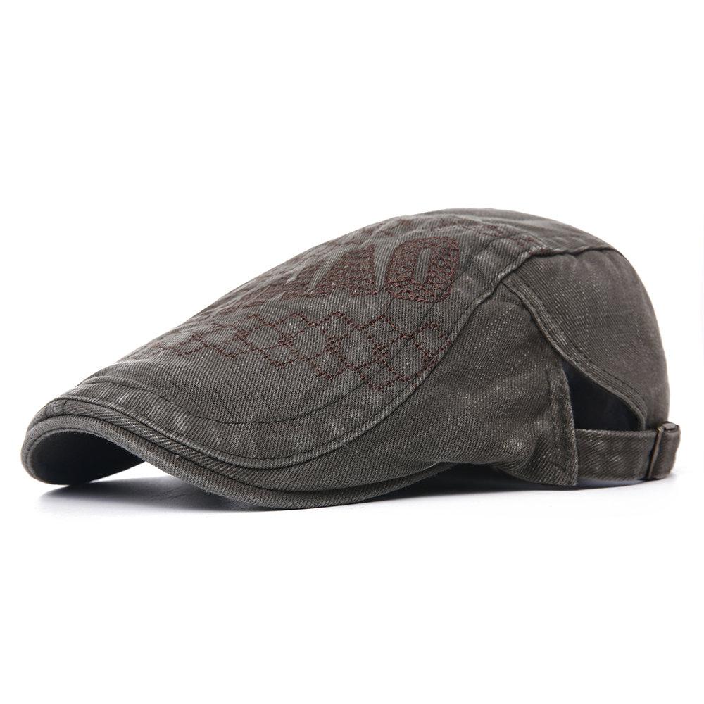 Men Vintage Denim Cotton Newsboy Cap Comfortable Wild Soft Outdoor Travel Casual Beret Cap