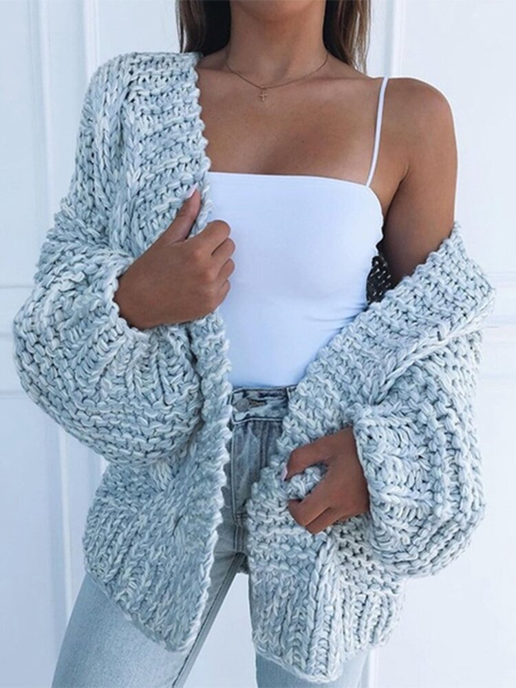 Solid Color Long Sleeve Casual Cardigan For Women