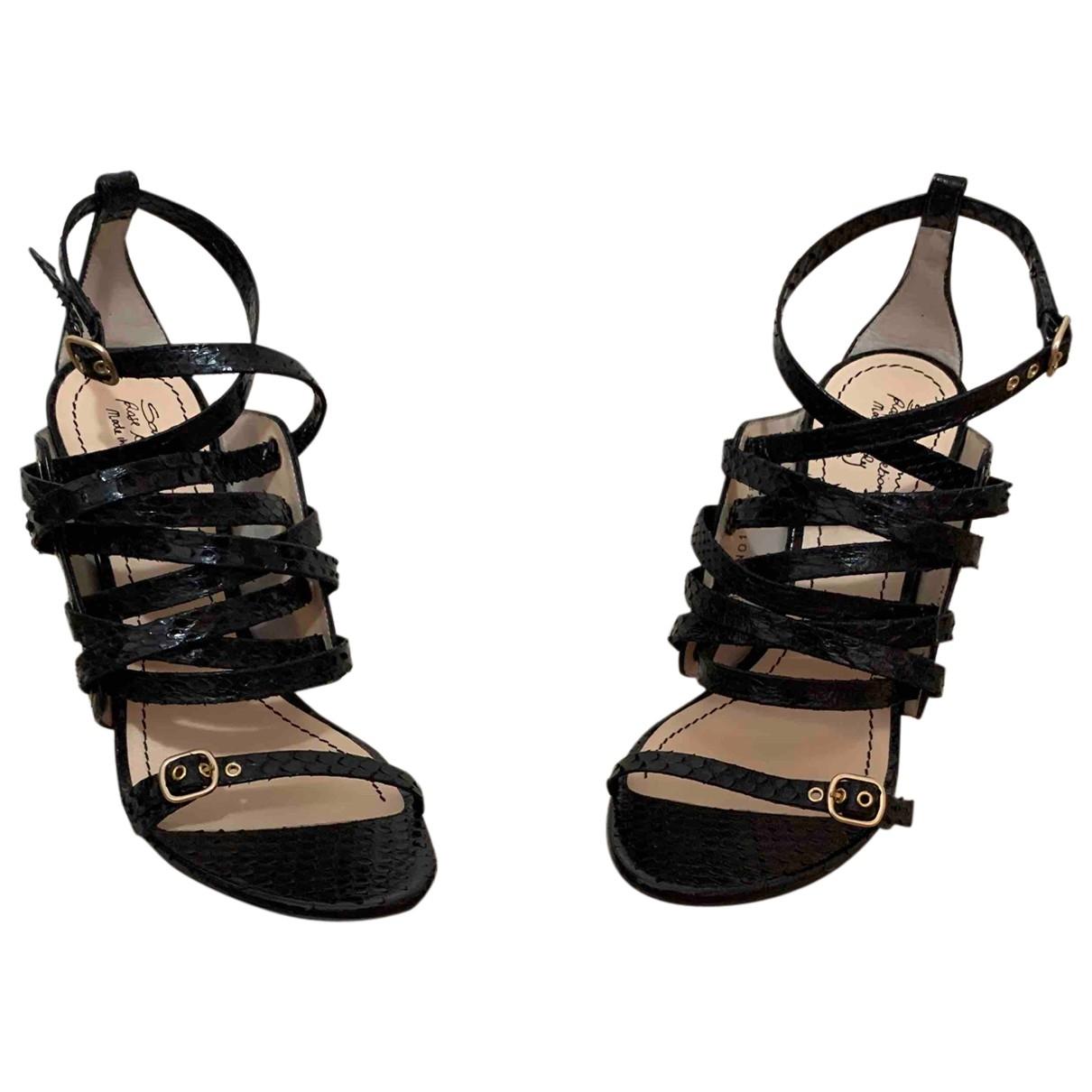 Santoni - Sandales   pour femme en cuir - noir