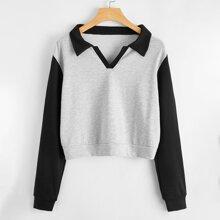 Colorblock Crop Sweatshirt