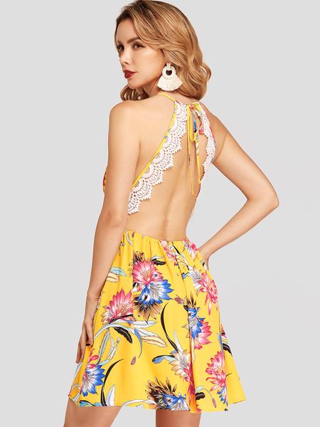 YOINS Yellow Floral Print Halter Deep V-neck Lace Detail Chiffon Mini Dress