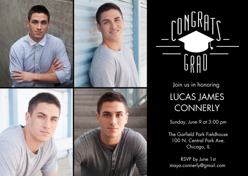 Graduation Invitations 5x7 Cards, Premium Cardstock 120lb with Scalloped Corners, Card & Stationery -Grad Badge