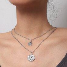2 Stuecke Halskette mit rundem Anhaenger