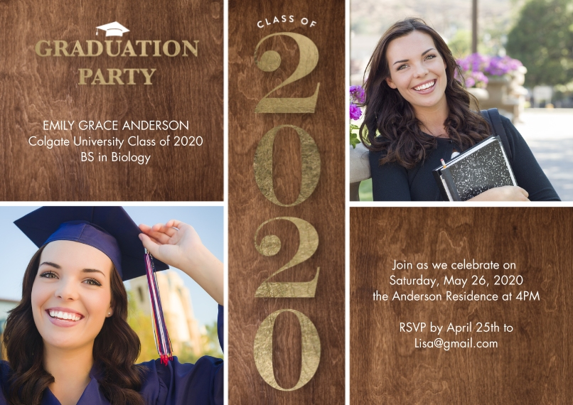 2020 Graduation Invitations 5x7 Cards, Premium Cardstock 120lb with Elegant Corners, Card & Stationery -2020 Grad Party Type by Tumbalina