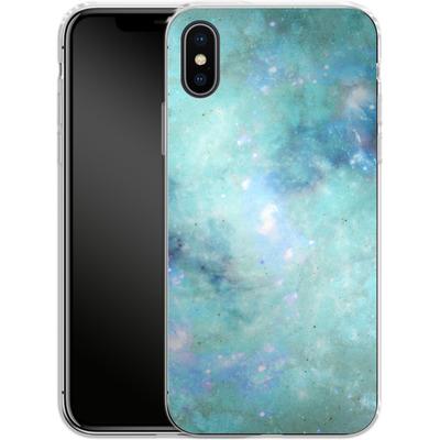 Apple iPhone X Silikon Handyhuelle - Abstract Galaxy - Light Blue von Barruf