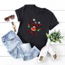 T-Shirt mit Weihnachten Karikatur Grafik und kurzen Ärmeln