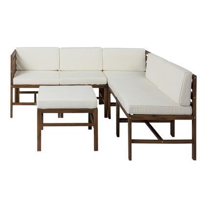 GOWSAN7PBR 7-Piece Modular Acacia in 5 seat + Ottoman + side table in