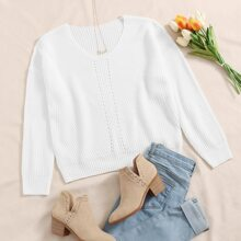 Solid Eyelet Detail Sweater
