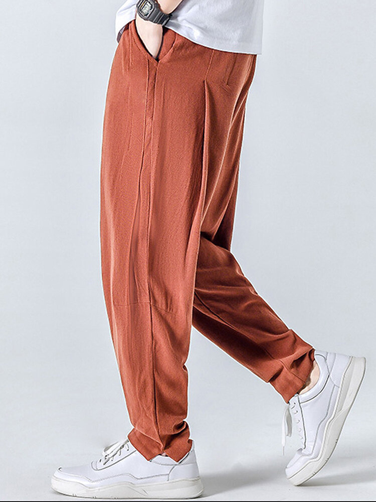 Mens Simple Solid Cotton Casual Breathable Drawstring Waist Harem Pants