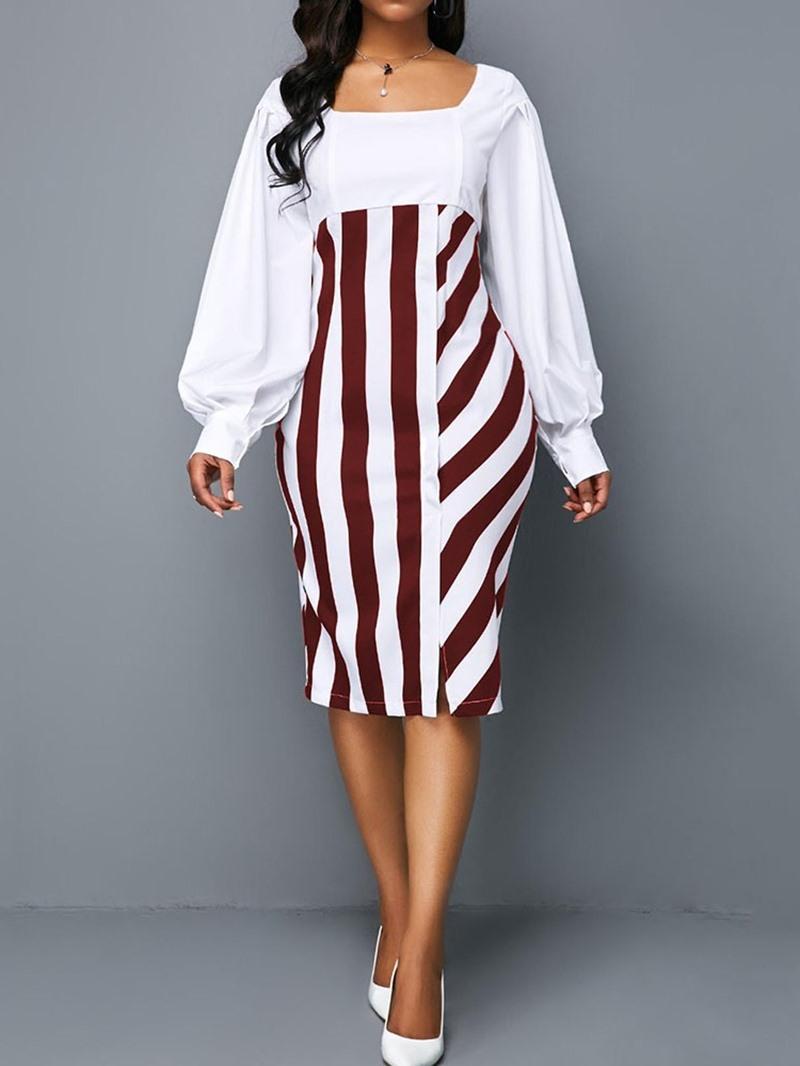 Ericdress Patchwork Long Sleeve Mid-Calf Lantern Sleeve Plaid Square Neck Dress