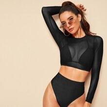 3pack Sheer Mesh High Waisted Co-ord Bikini Swimsuit