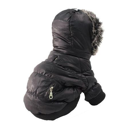 The Pet Life Metallic Fashion Pet Parka Coat, One Size , Black