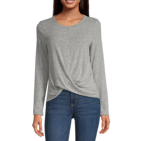 by&by-Juniors Womens Round Neck Long Sleeve Pullover Sweater, Xx-large , Gray