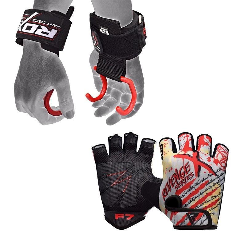RDX F7 Gants de Musculation et W15 Sangles Moyenne Rouge