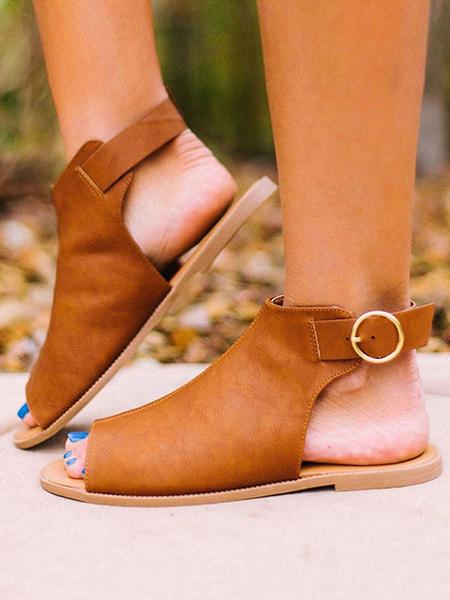 Milanoo Sandalias Plataforma De Mujer Sandalias Plataforma Con Hebilla De Punta Abierta Cafe Marron Plano Zapatos De Mujer