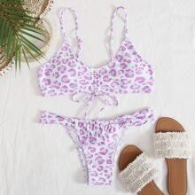 Leopard Drawstring Thong Bikini Swimsuit