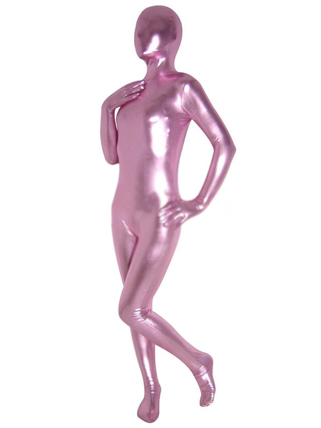 Milanoo Halloween Unisex Pinkish Purple Shiny Metallic Zentai Suit