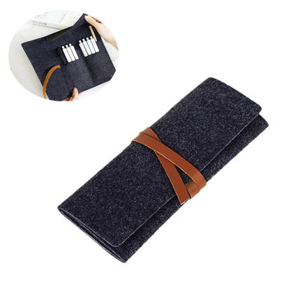 Portable Roll Up Felt Pouch Bag for Pencil / Stationery / Cosmetic Makeup Brush - Black