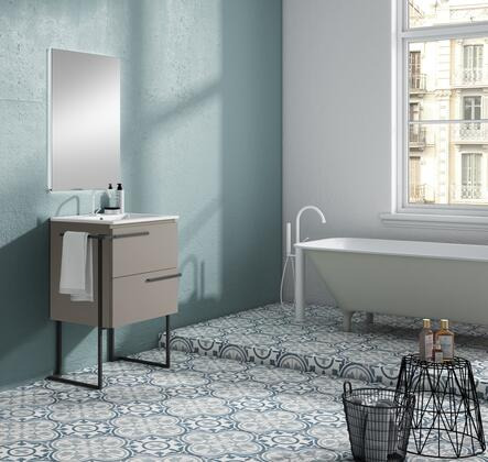Scala Collection 3878LTB 24 Bathroom Vanity with 2 Soft Close Drawers  Rectangular Shaped Ceramic Sink  Metal Legs  Interior Organizer and