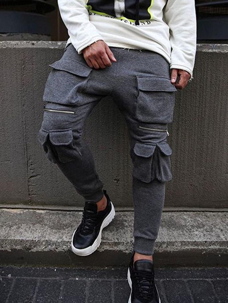 Ericdress Plain Overall Zipper Mid Waist Men's Casual Pants