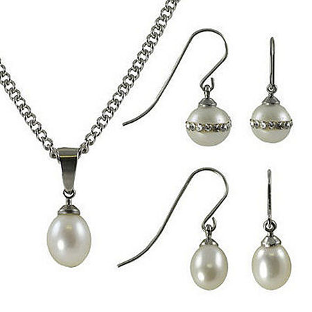 White Stainless Steel 3-pc. Jewelry Set, One Size , No Color Family