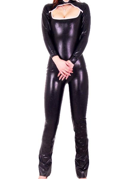 Milanoo Disfraz Halloween Brillante Metalico catsuit con hueco Busto Halloween