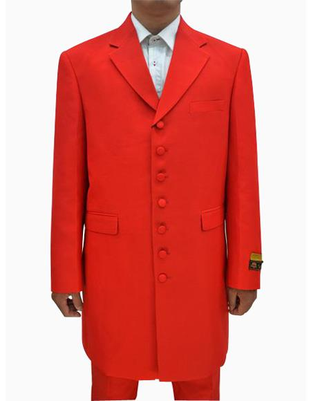 Mens Red  Seven Button Zoot Suits