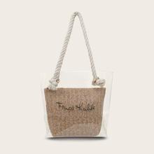 Klare Einkaufstasche mit innerem gewebtem Beutel