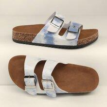 Tie Dye Two Buckle Cork Footbed Slide Sandals