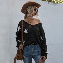 Pullover mit Riss und Stern Muster