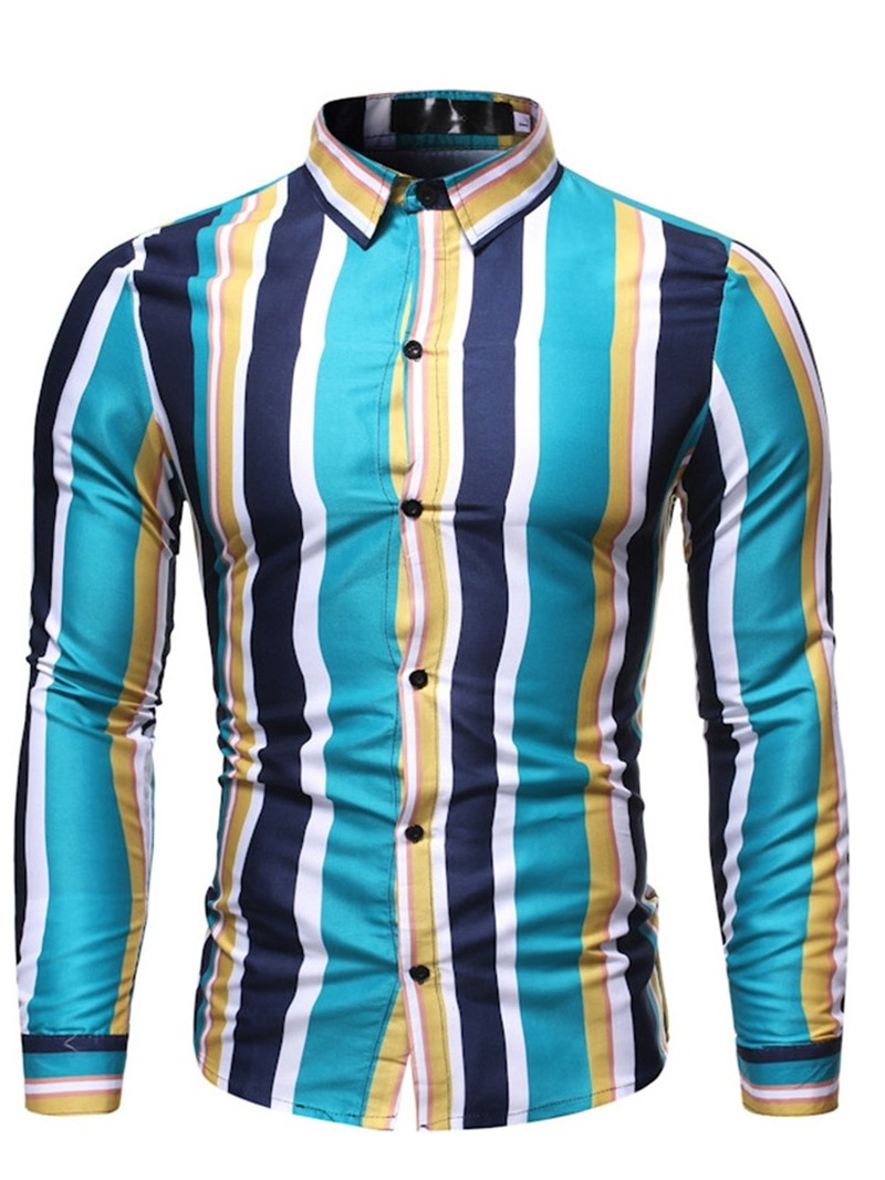 Ericdress Stripe Lapel Print Men's Slim Shirt
