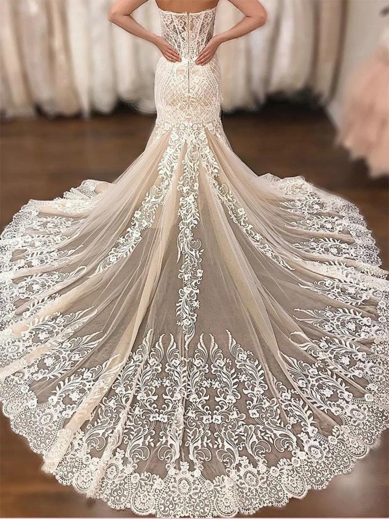 Ericdress Sweetheart Mermaid Embroidery Wedding Dress 2020