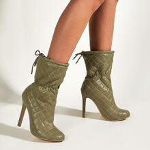 Stitch Detail Stiletto Ankle Boots