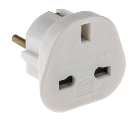 RS PRO UK to Europe Travel Adapter, Rated At 7.5A