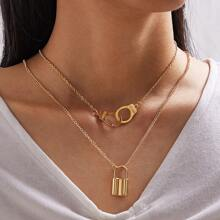 1pc Lock & Link Charm Necklace