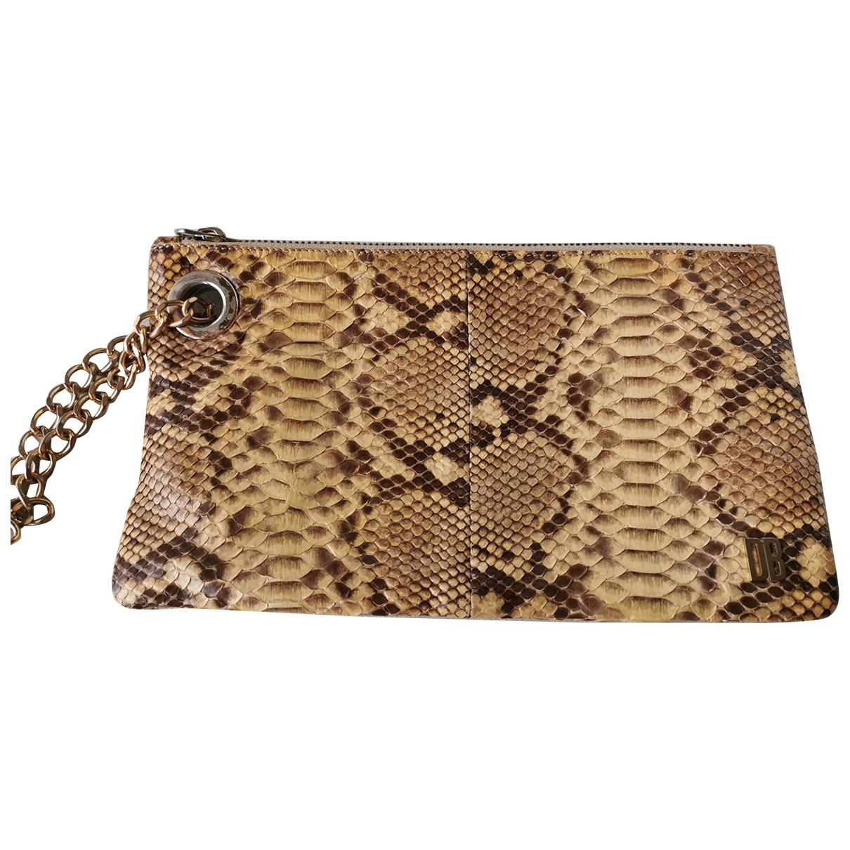 Dirk Bikkembergs - Pochette   pour femme en python - beige