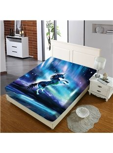 Unicorns In The Blue Galaxy Reactive Printing 1-Piece Polyester Bed Cover / Mattress Cover
