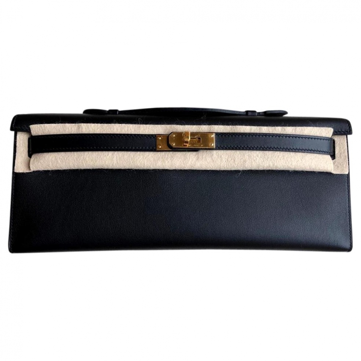 Hermes Kelly Cut Clutch Clutch in  Schwarz Leder