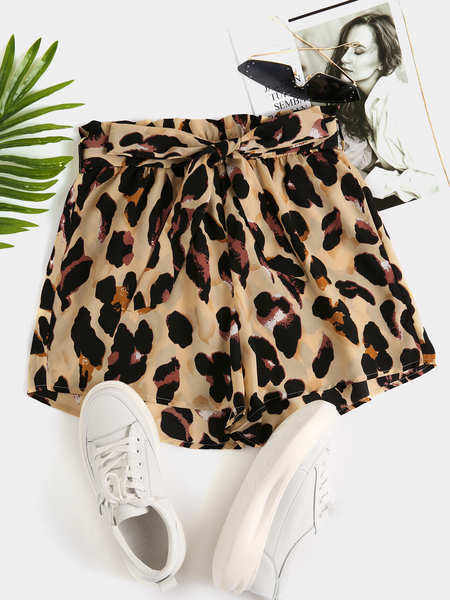 Yoins Leopard Belt design Chiffon Shorts
