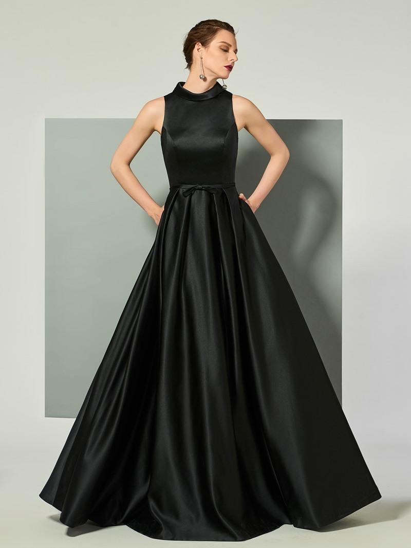 Ericdress Vintage High Collar Satin Floor Length Long Evening Dress